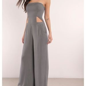 Strapless jumpsuit with cutouts